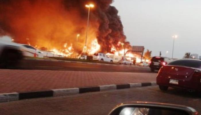 سلا..حريق ضخم يأتي على محتويات سوق عشوائي